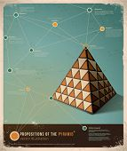 picture of pyramid shape  - Retro Infographic template design - JPG