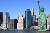 stock photo of statue liberty  - Manhattan Skyline and The Statue of Liberty - JPG