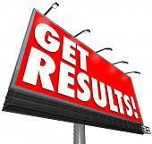 Get Results on a red billboard advertisement sign promising a guaranteed success in achieving a goal