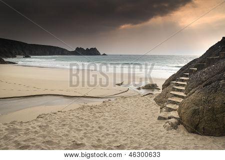 Porthcurno yellow sand beach before sunset
