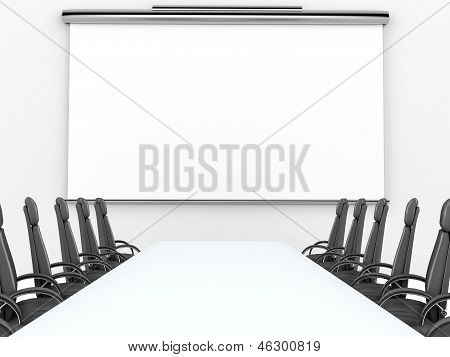 Render of meeting room with projection screen