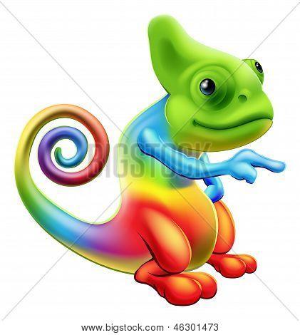 Rainbow Chameleon Mascot Pointing