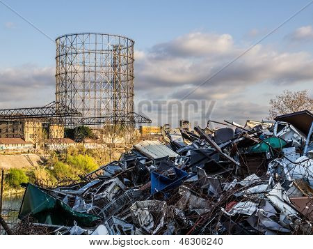 Scrapyard near Gazometer in Rome, Italy.