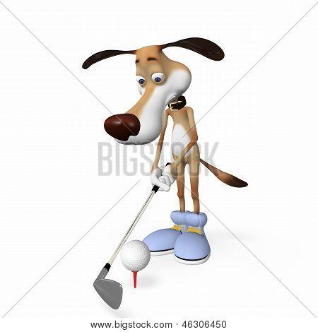 Dog Playing Golf.