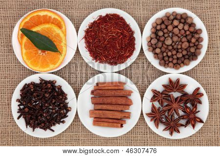 Sweet spice ingredient selection with sliced orange fruit in white porcelain bowls over white background.