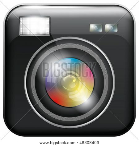 Vector app icon with camera lens and flash light for web applications