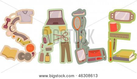 Illustration of Vintage Sale Text Design featuring Items for Sale