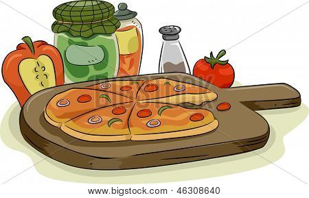 Illustration of Pizza in Wooden Pan with Spices and Toppings