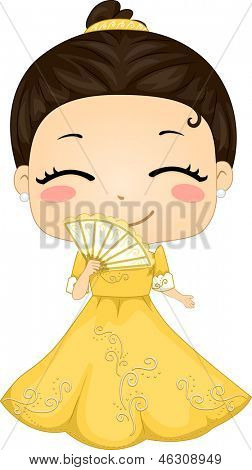 Illustration of Cute Little Filipina Girl wearing Traditional Costume Baro't Saya