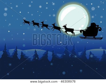 Backround Illustration of Santa Claus riding in Flying Sleigh driven by Reindeers