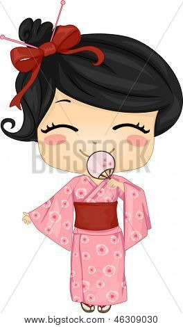 Illustration of Cute Little Japanese Girl Wearing Traditonal Costume