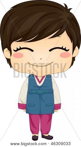 Illustration of Cute Little Korean Boy wearing Traditonal Costume