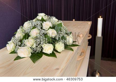 Flower Arrangement On Coffin