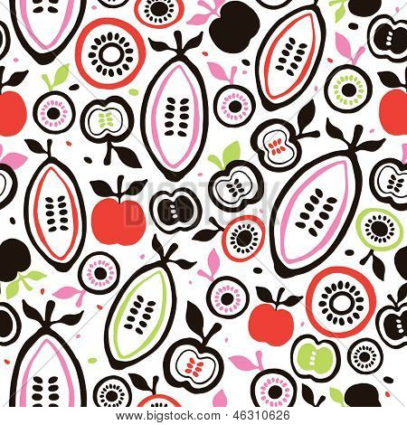 Seamless colorful retro fruits and seeds illustration background pattern in vector