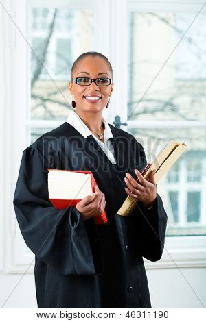 Young female lawyer working in her office with a typical law book and a file or dossier