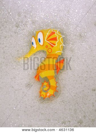 Seahorse Toy Taking A Bubble Bath