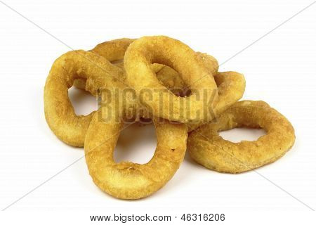 fried squid ring on the white background