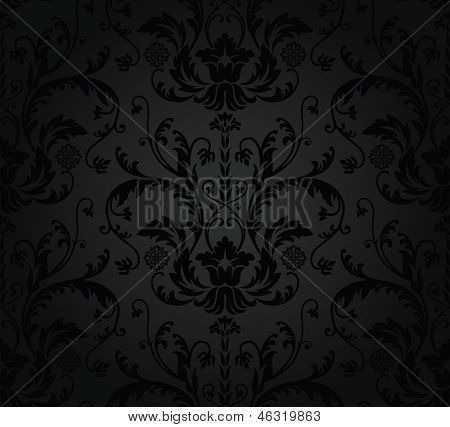 Charcoal seamless floral wallpaper. This image is a vector illustration.