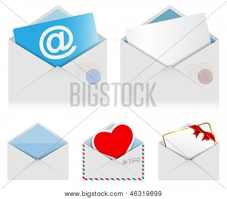 Illustration set of mail envelopes isolated on white background. Vector.