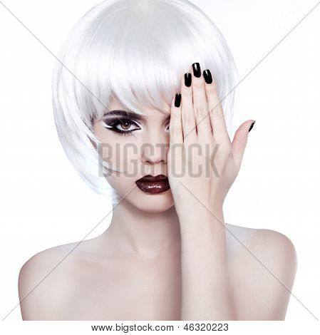 Vogue Style Woman. Fashion Beauty Woman Portrait With White Short Hair. Hairstyle. Manicured Polish