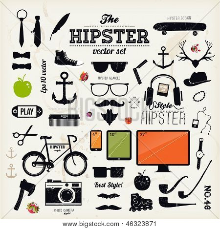 Hipster style infographics elements and icons set for retro design. With bicycle, sunglasses, mustac poster