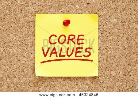 Core Values Sticky Note