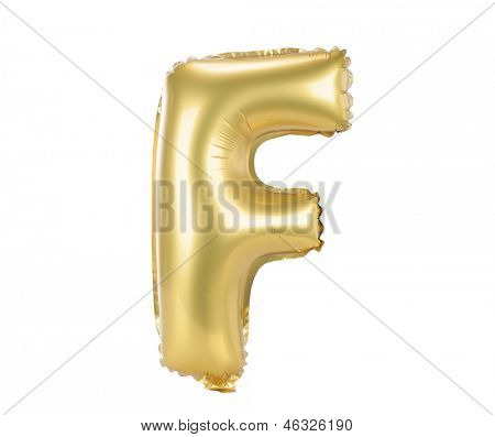 Gold balloon font part of full set upper case letters, F