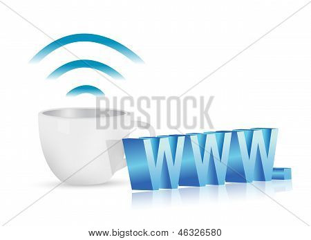 Internet Www Coffee Mug Concept Illustration