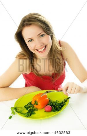 Happy Woman Keeping A Diet
