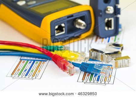 Termination Of Colored Rj45 Cables And Tester For Computer Networks