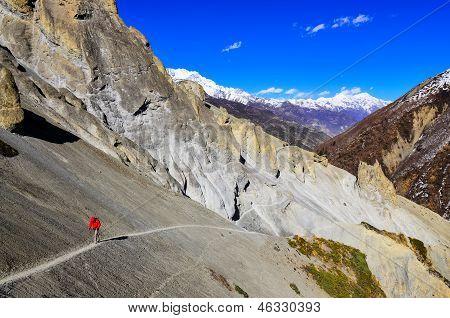 Trekker In Red Jacket In Himalayas Mountains