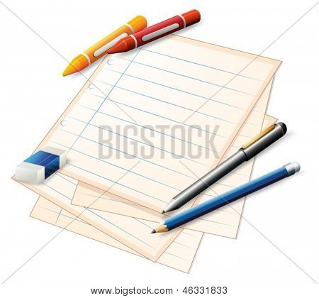 Illustration of a paper with crayons and pencils on a white background