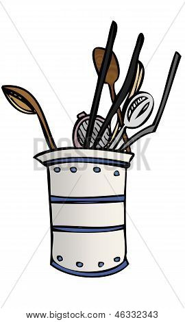 Vector Illustration of Kitchen Cooking Utensils Pot