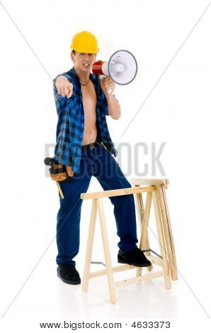 Construction Worker Megaphone