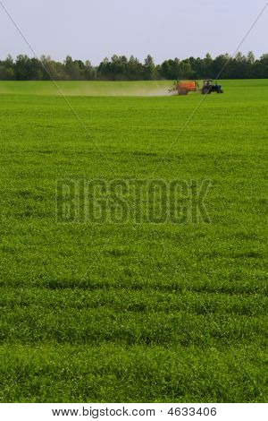 Green Field Fertilized With Use Of Agricultural Machine