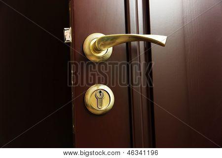 Door lock and door handle close-up