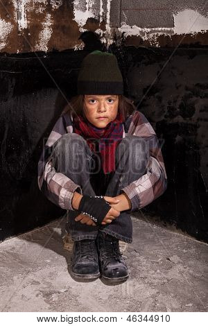 Poor Beggar Child Sitting On The Street