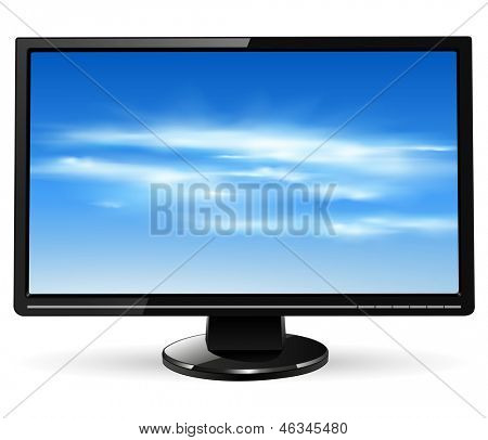 TV monitor with vector clouds on screen
