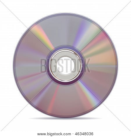 Realistic compact disc on white background.