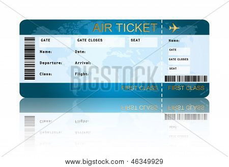 Airline Boarding Pass Ticket Isolated Over White