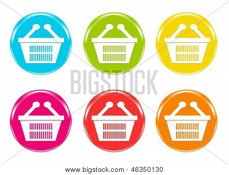 Icons with shopping baskets