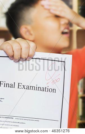 Asian Boy With Zero Score On Examination Paper