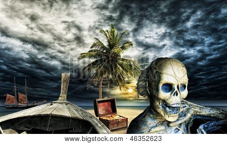 Pirate skeleton on a desert island with a chest full of gold