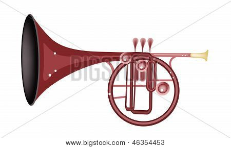 A Musical Straight Mellophone Isolated On White Background