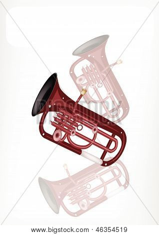 A Musical Euphonium With A White Banner