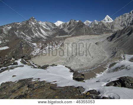 Nuptse Glacier, Moraines And Peak Of Pumo Ri