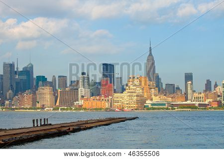 New York City Manhattan buildings view from the Harbor