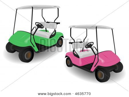 Two Golf Cart Buggies Illustrations
