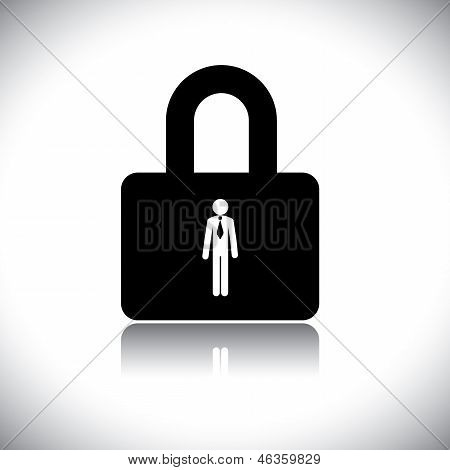 Concept Vector Graphic- Protecting(insuring) Employee Lock Symbol