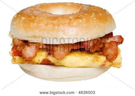 Isolated Bagel Omelette And Bacon  Sandwich Close Up